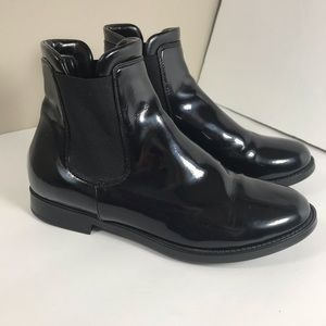 Aquatalia black patent leather rain ankle boots
